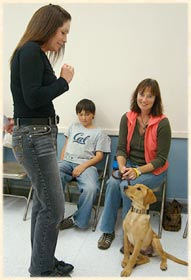 Laura teaching a dog to sit.